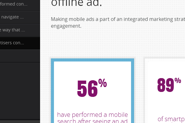 Click on '56%have performed a mobile search after seeing ...'